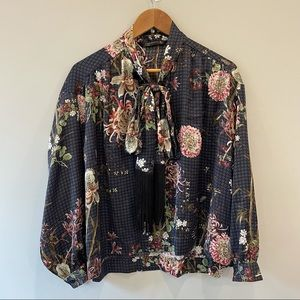 Zara Floral Blouse with Bow Tie Neckline SZ L